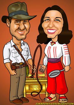 caricaturas a color_steven spielberg_george lucas_cine_indiana jones_marion rave
