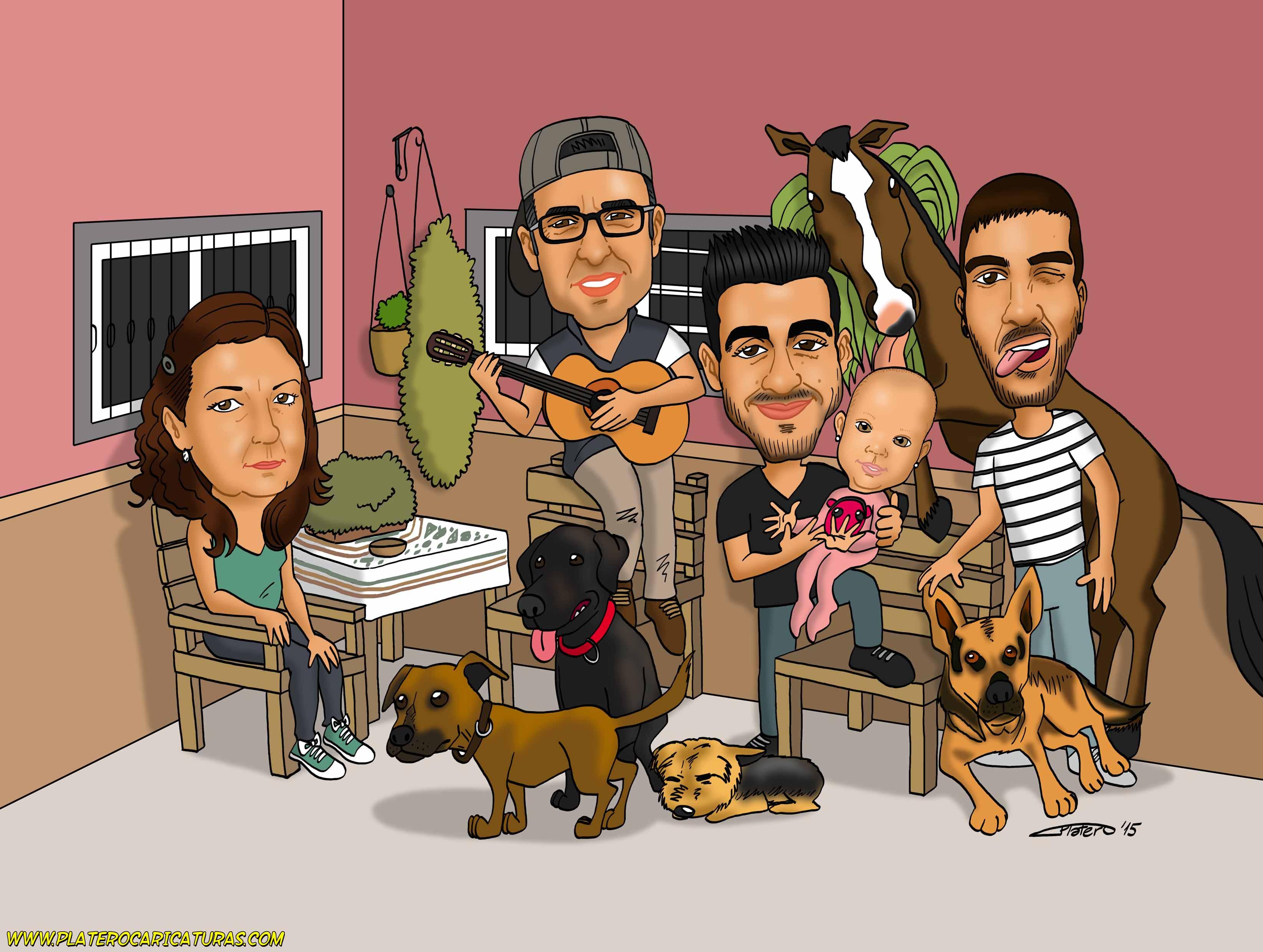 caricaturas_a_color_por_encargo_personalizadas_familia_y_animales_platerocaricaturas_elmundodeplater