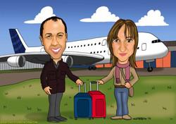 caricatura_a_color_por_encargo_personalizada_pareja_con_avión_elmundodeplatero_j