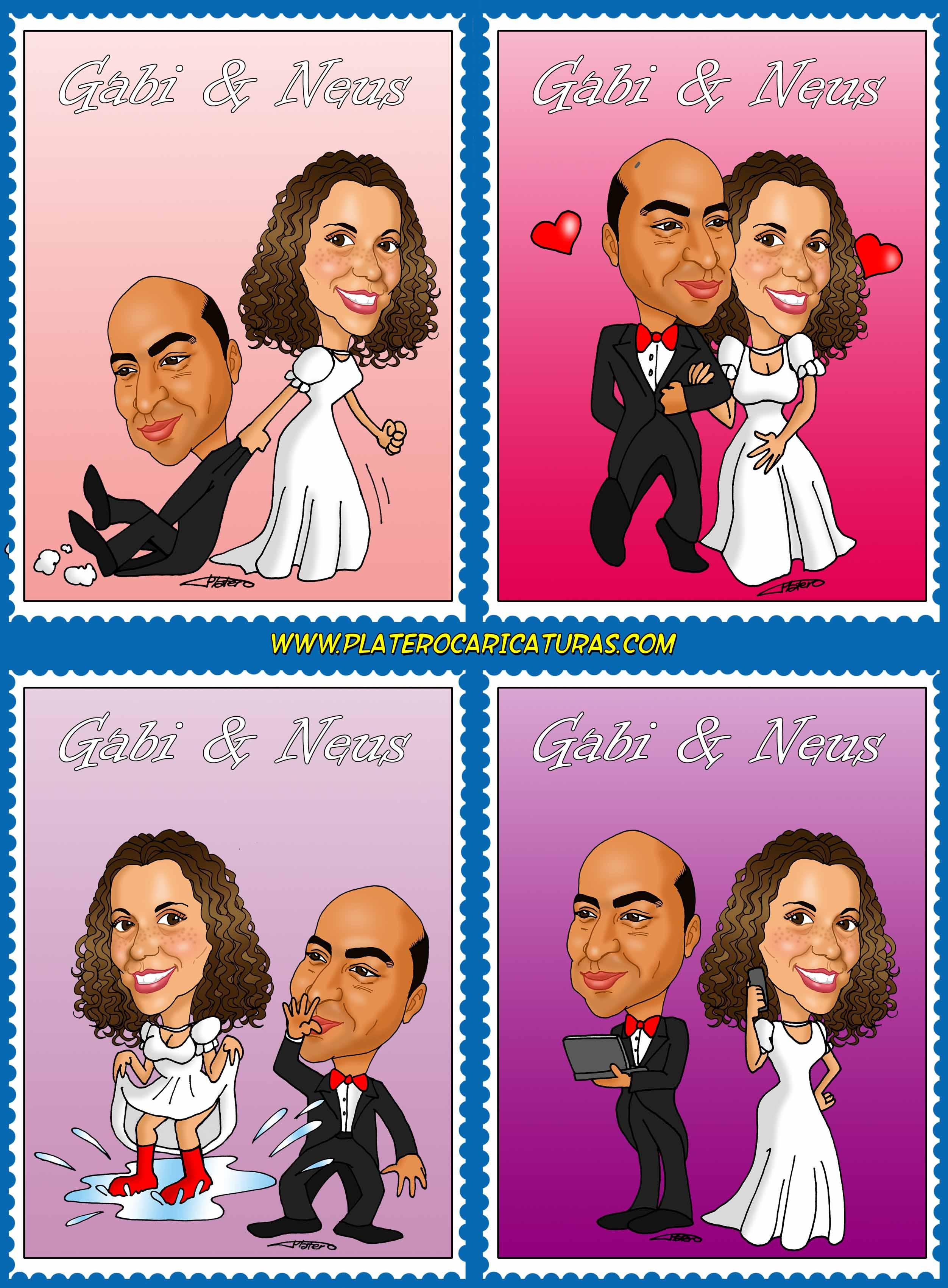 caricaturas_a_color_por_encargo_personalizadas_invitación_novios_boda_sellos_pla