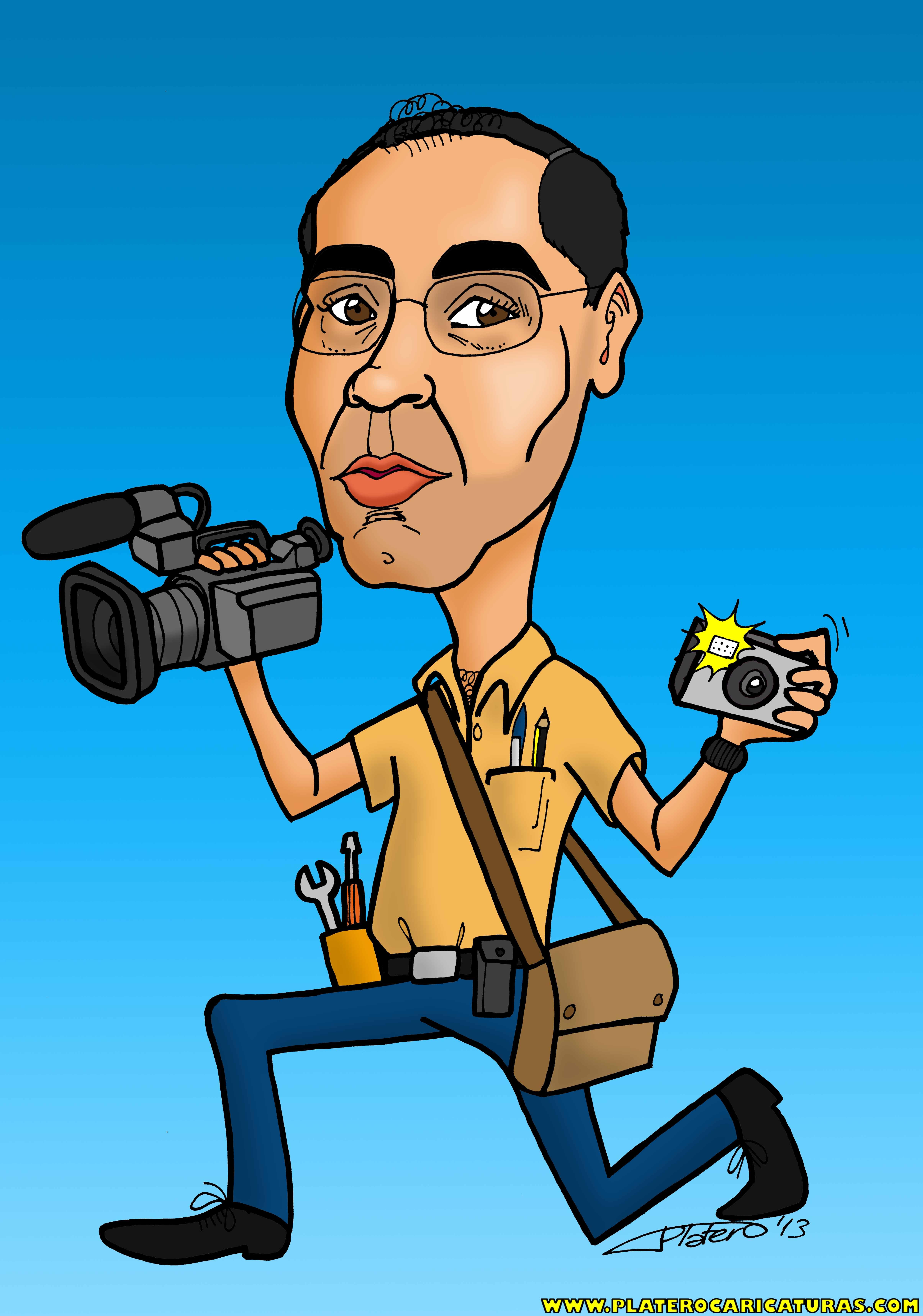 caricaturas a color por encargo personalizadas_hombre con cámara_platerocaricatu