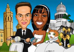 caricaturas a color por encargo personalizadas_invitación boda_pareja novios ves