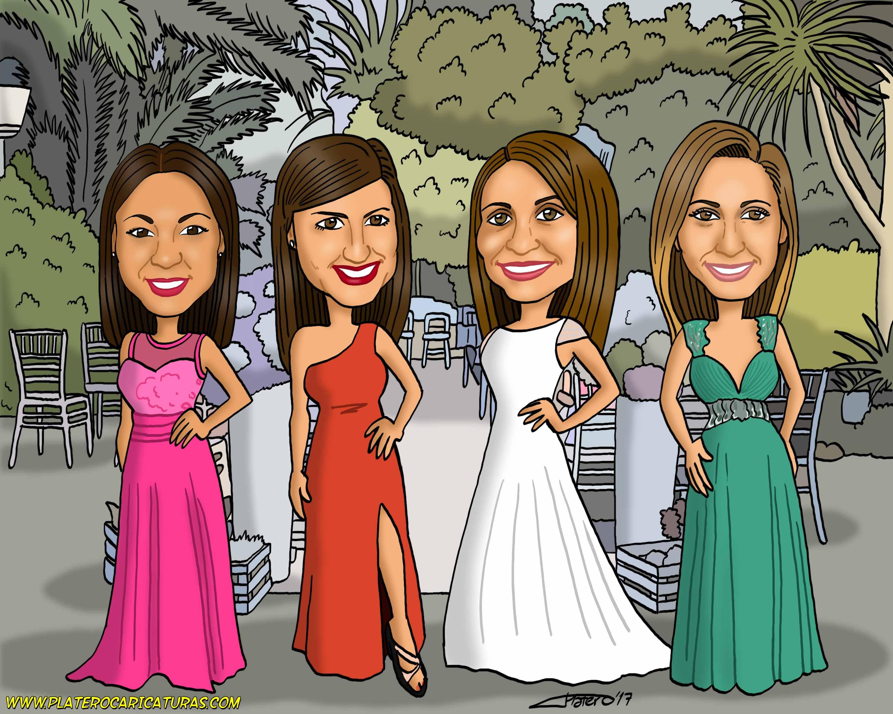 4 chicas_caricatura_caricaturas_platerocaricaturas