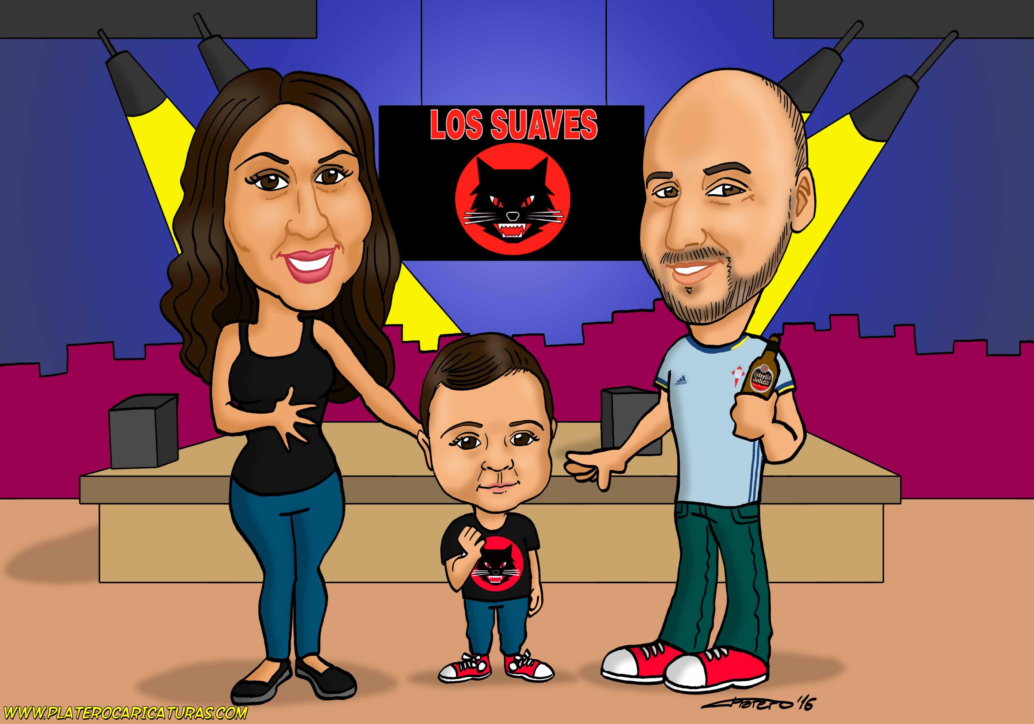 familia en concierto_platerocaricaturas