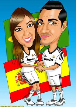 caricaturas a color por encargo personalizadas_pareja futbolistas equipo fútbol