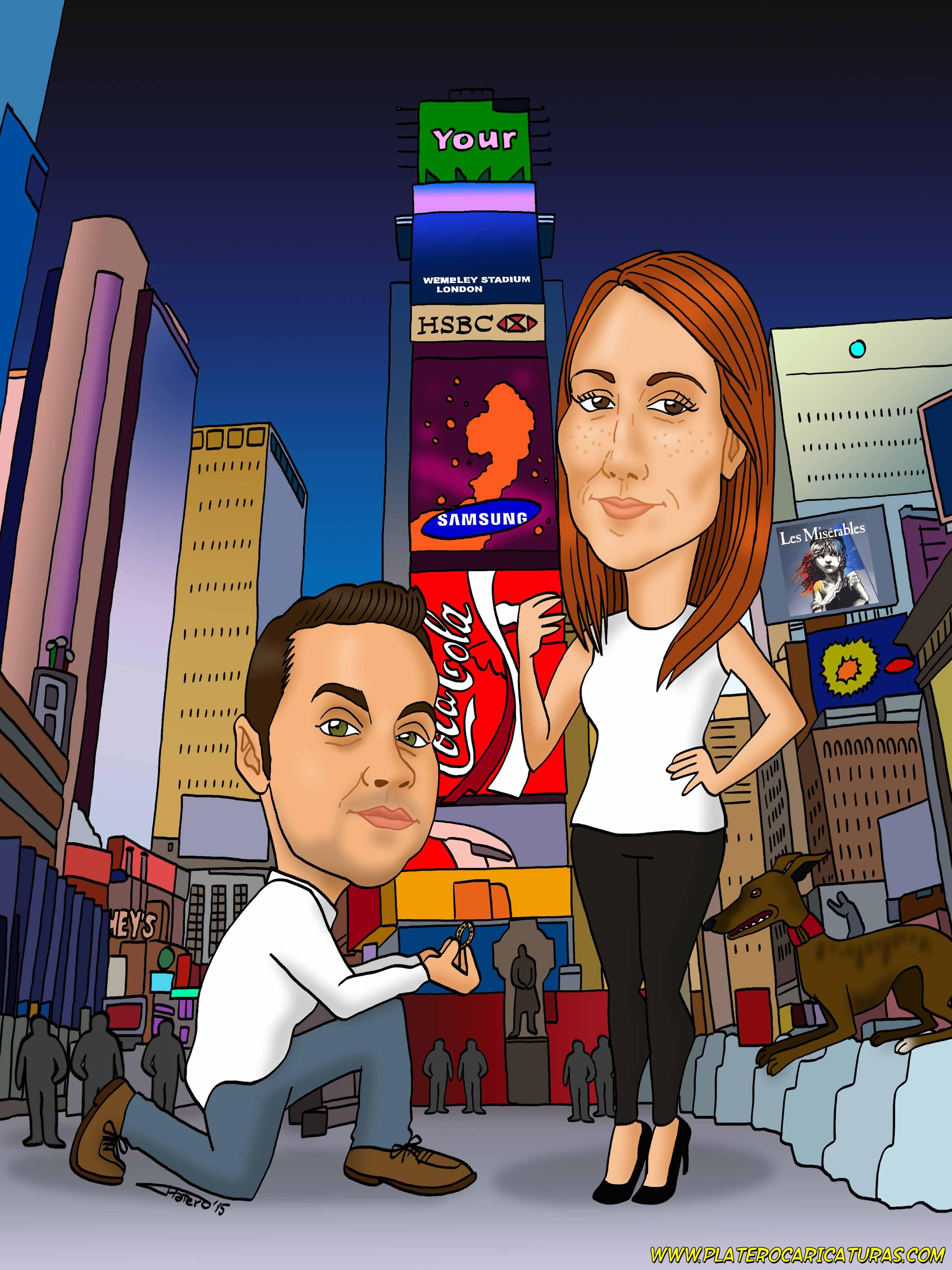 caricaturas_a_color_por_encargo_personalizadas_pareja_en_Nueva_York_platerocaricaturas_elmundodeplat