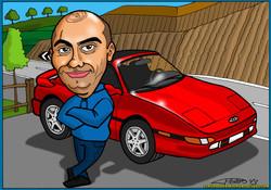 caricatura a color por encargo personalizada_chico y su coche honda_elmundodepla