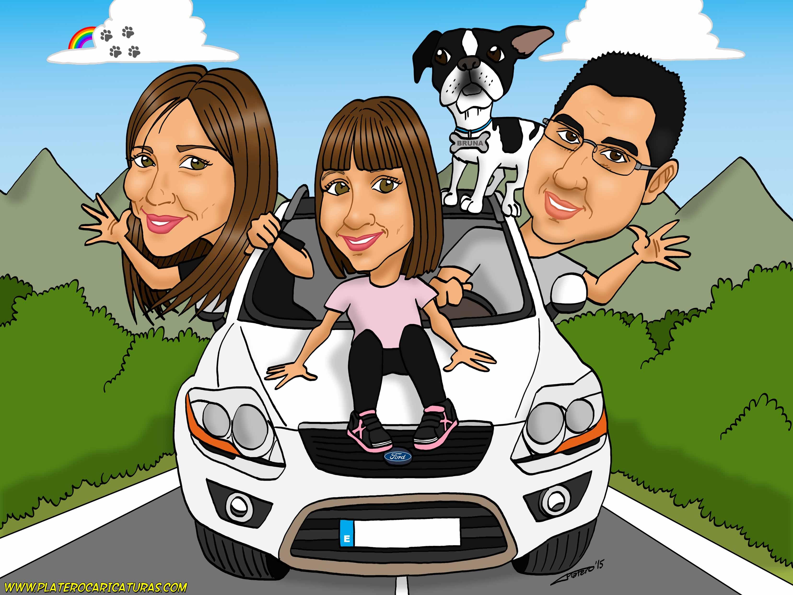 caricaturas_a_color_por_encargo_personalizadas_pareja_con_perro_en_coche_platerocaricaturas_elmundod