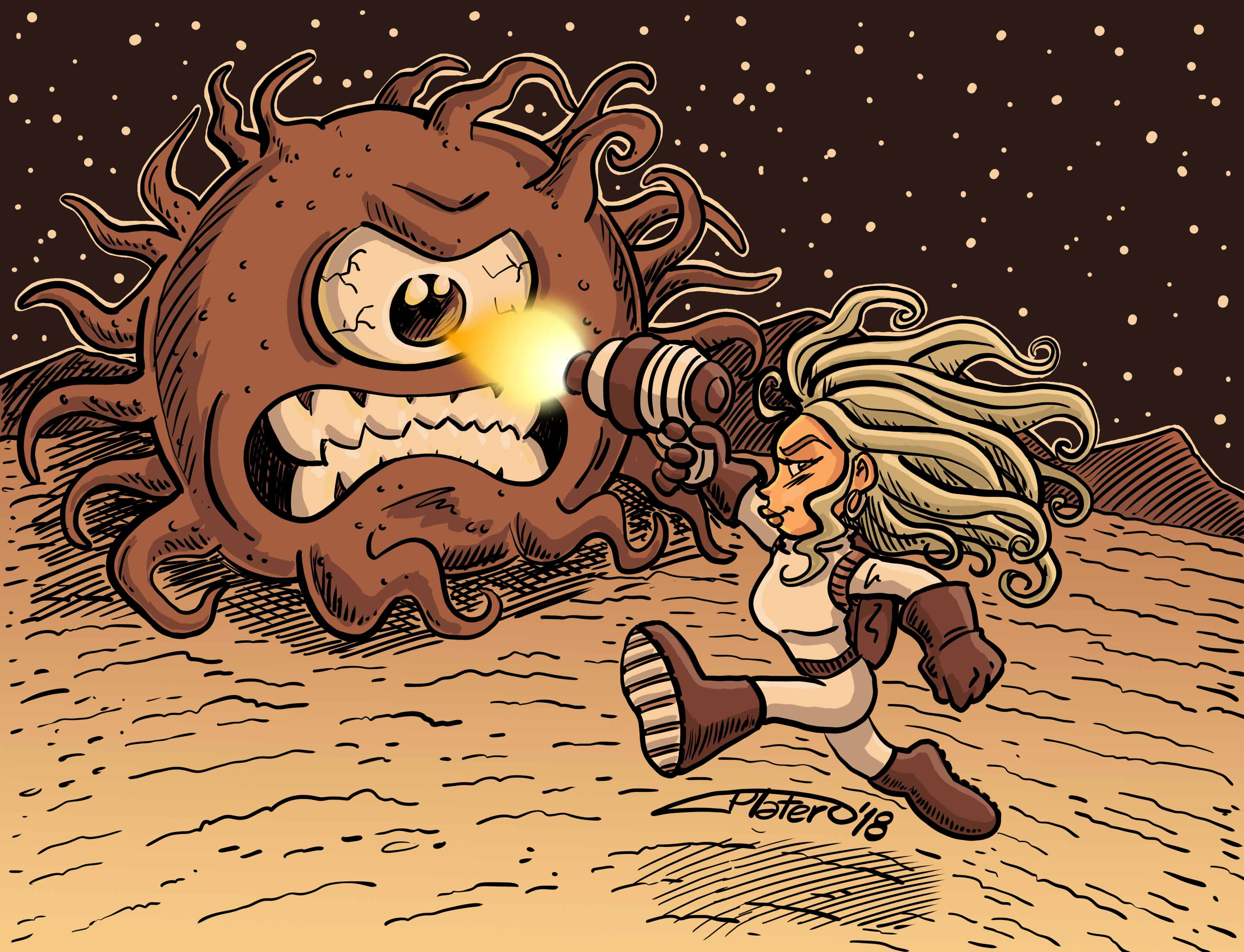 COLOR_batalla_espacial_extraterrestre_chica_astronauta_jose_luis_platero_dibujo