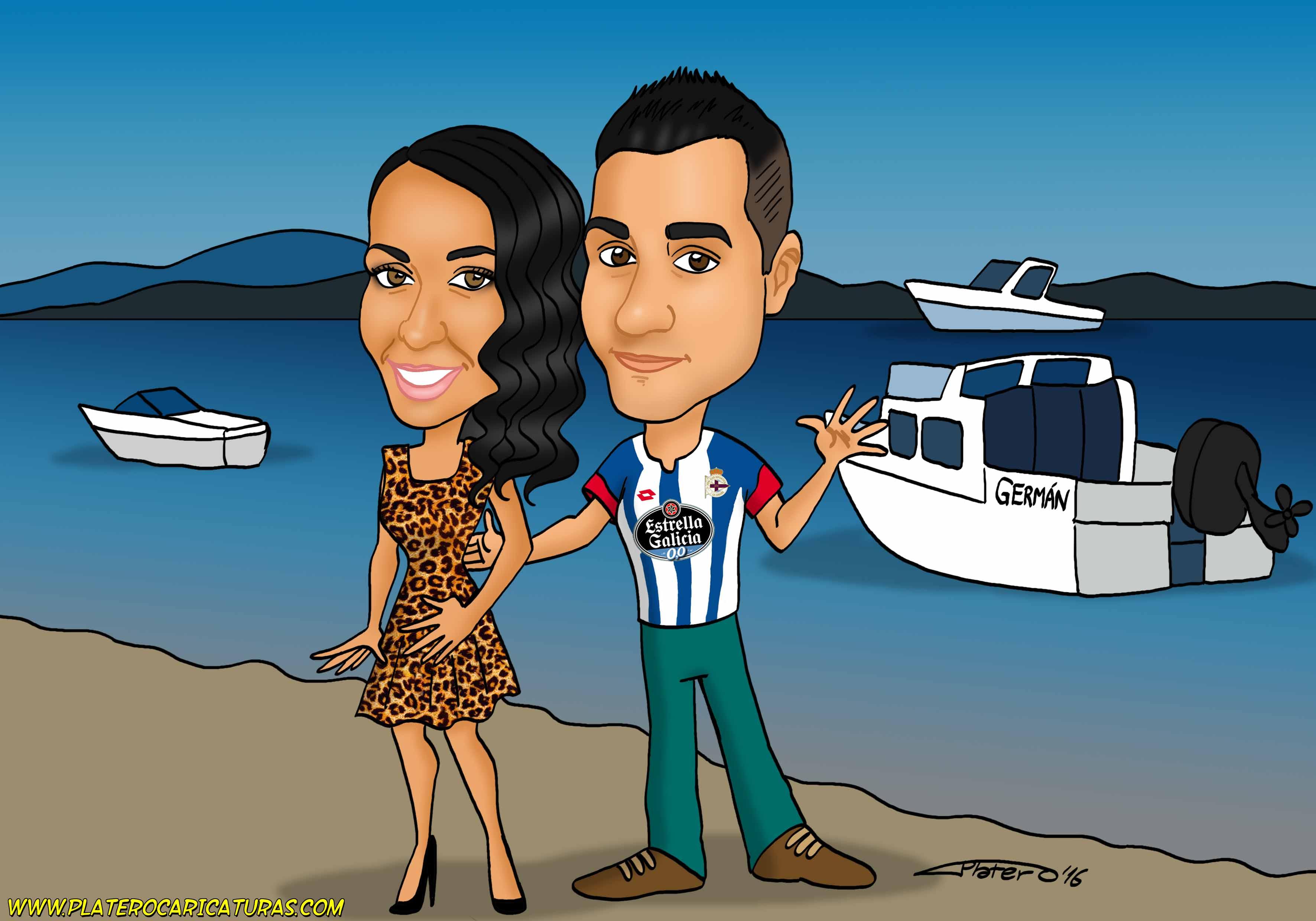 caricaturas_pareja con barco en puerto_platerocaricaturas