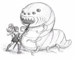 Heroína contra Gusano Gigante
