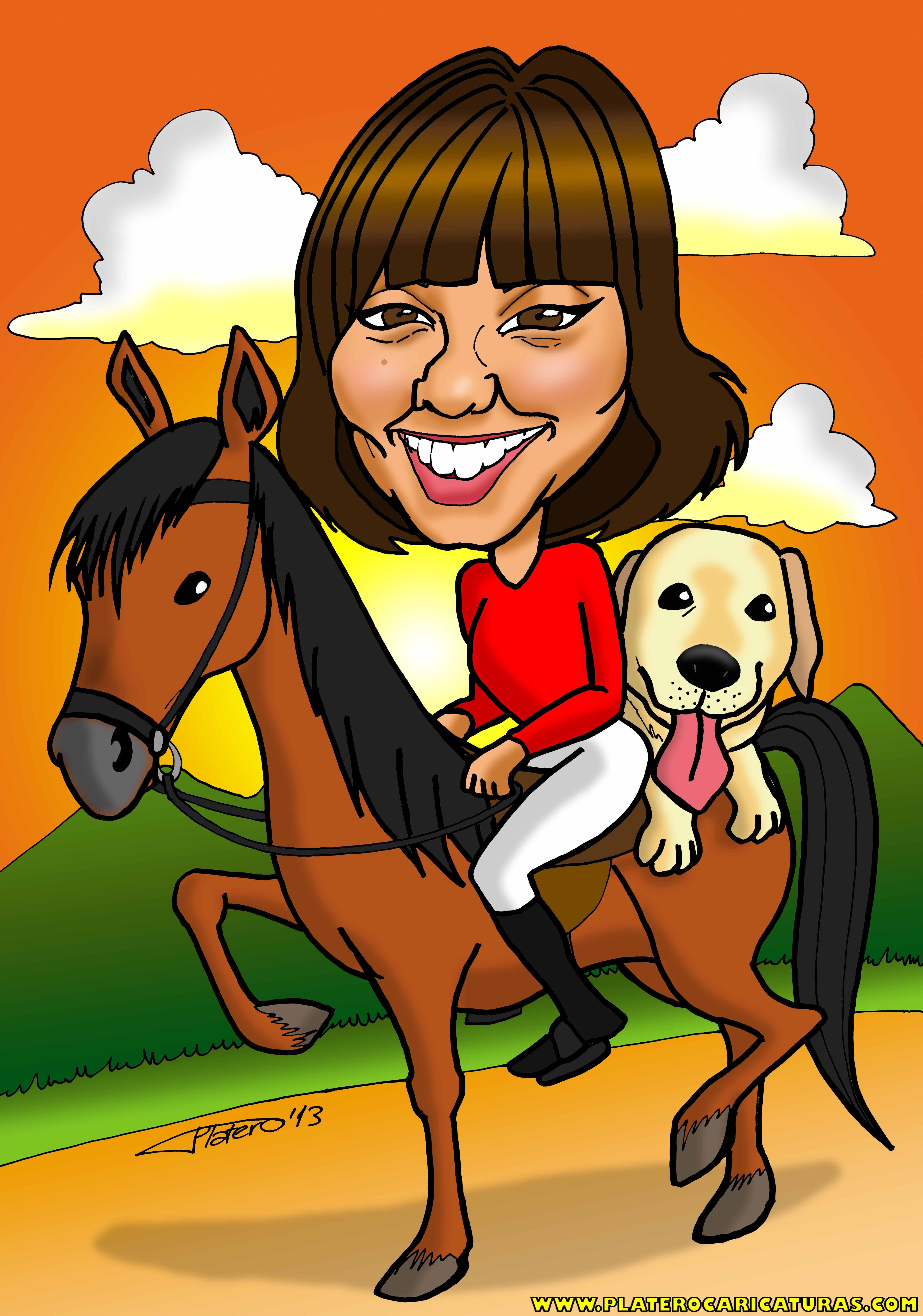 02 caricaturas a color por encargo personalizadas_chica en caballo_platerocarica