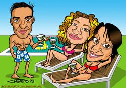 caricaturas a color personalizadas_amigos en piscina_elmundodeplatero_platero.jp