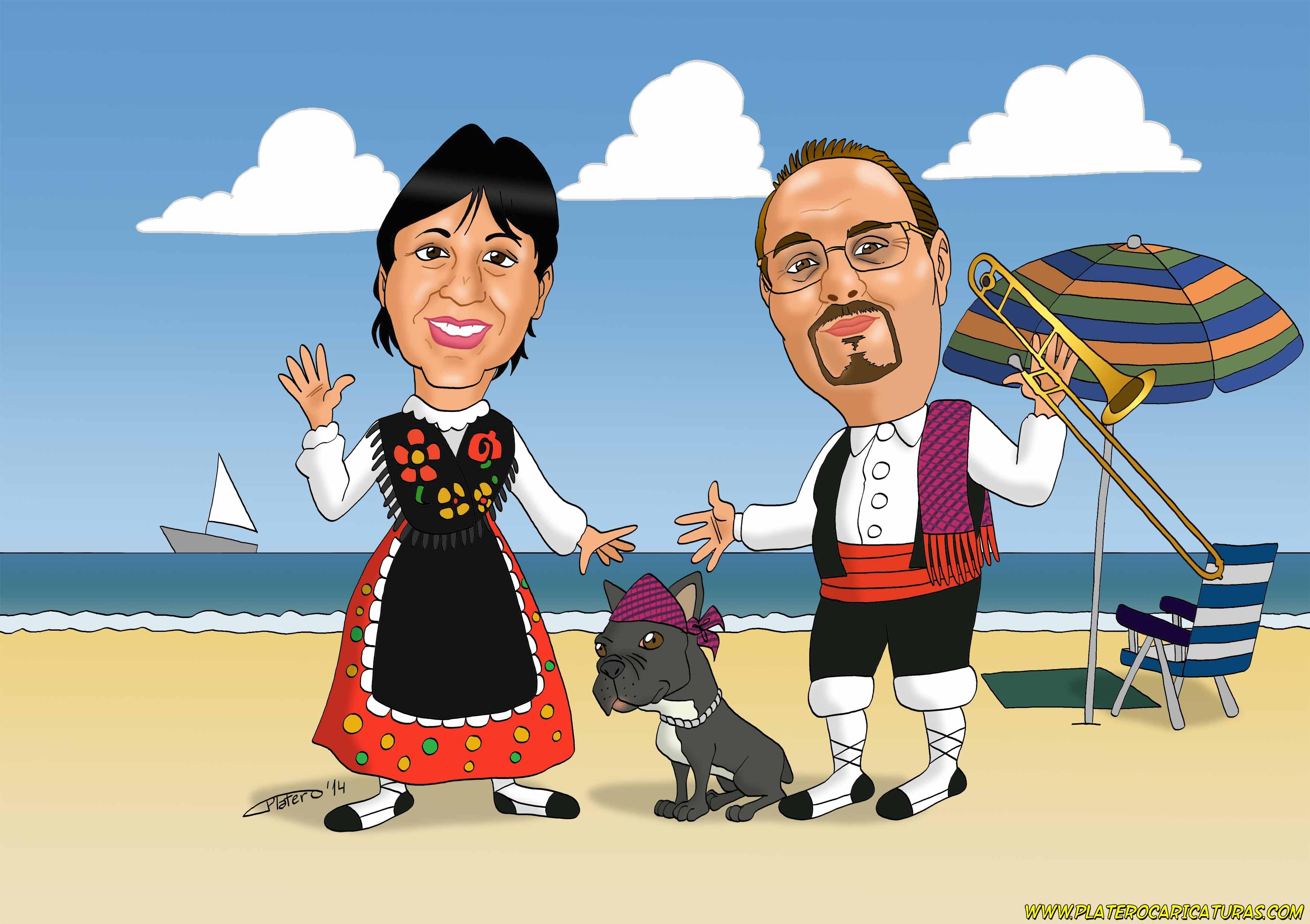 caricaturas_a_color_por_encargo_personalizadas_pareja_de_maños_con_perro_en_la_p