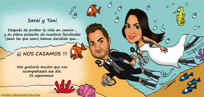 01_caricaturas_a_color_por_encargo_personalizadas_tarjeta_de_boda_novios_platerocaricaturas_elmundod