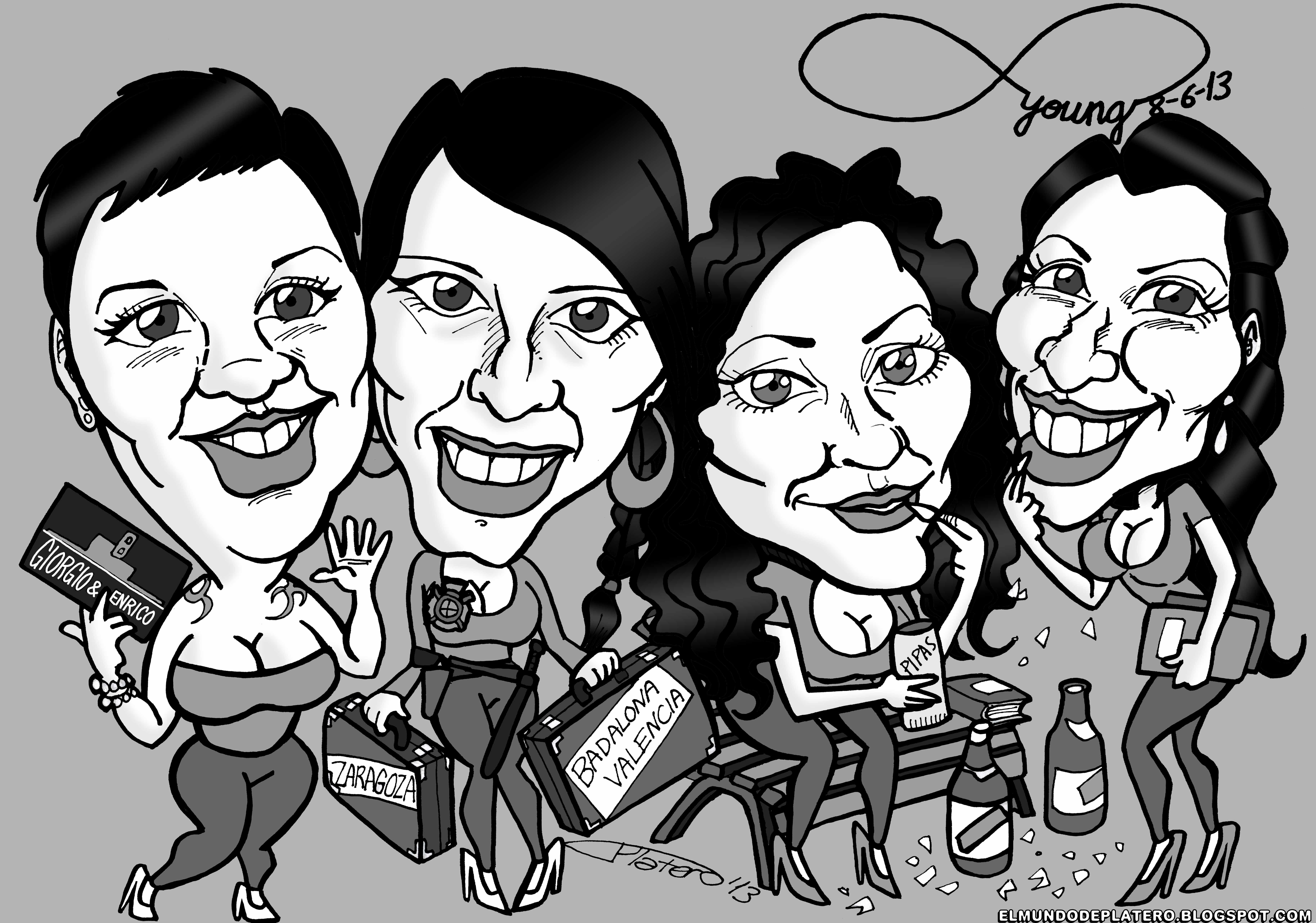 caricaturas blanco y negro personalizadas por encargo_amigas_elmundodeplatero_jo