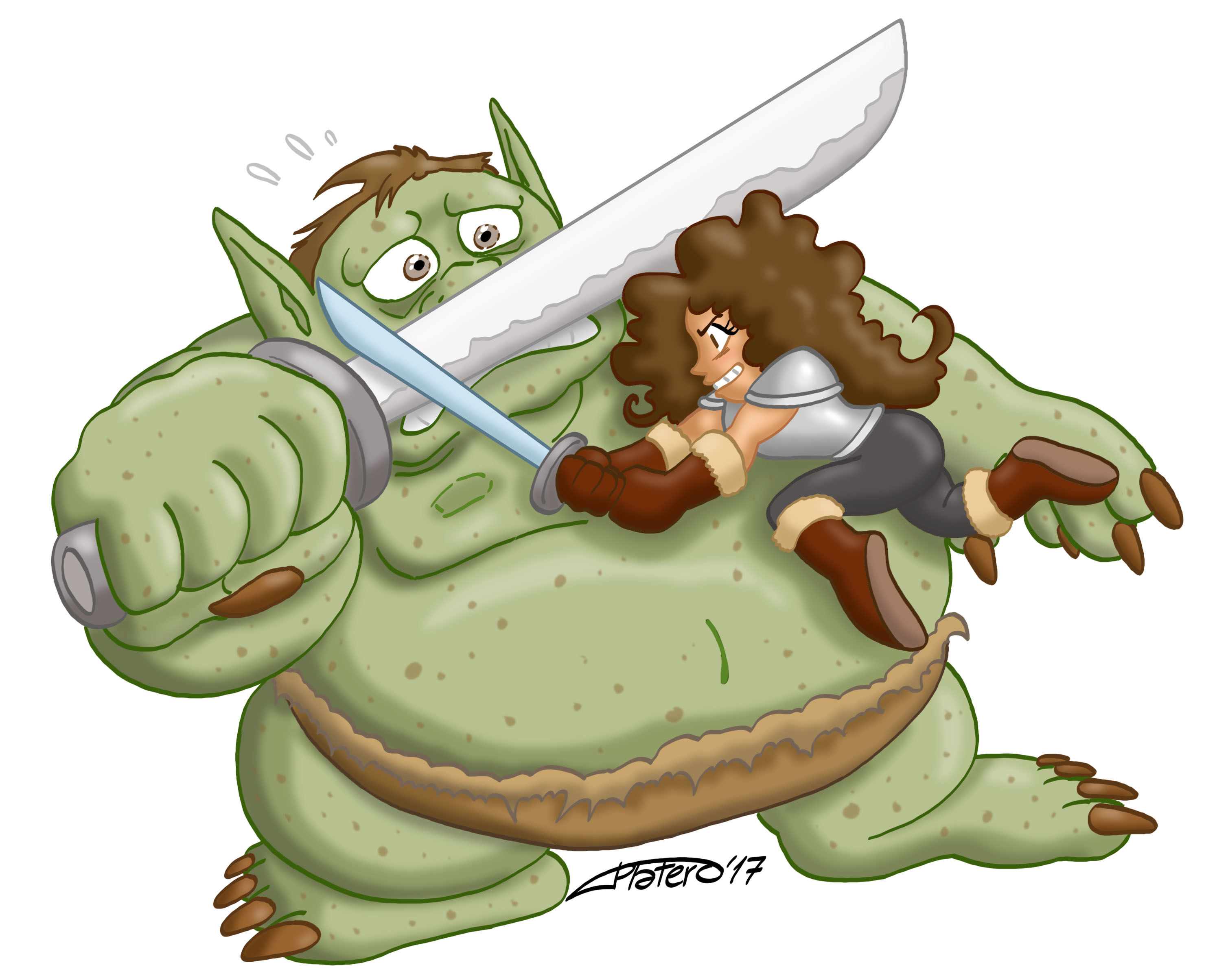 Chica guerrera luchando contra Troll