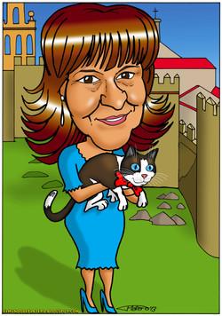 caricatura a color personalizada por encargo_mujer y gato Avila_elmundodeplatero