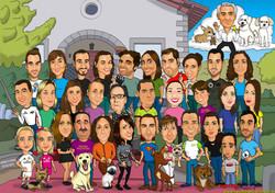 caricaturas_a_color_por_encargo_personalizadas_boda_novios_con_familia_y_animale