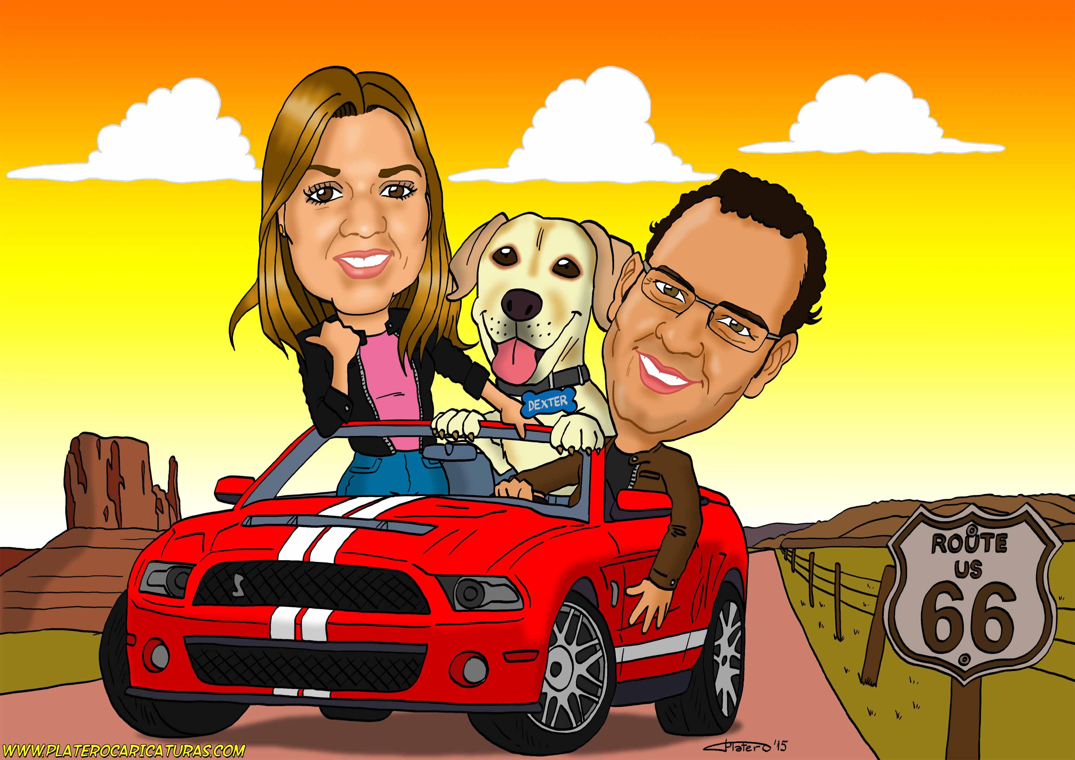 Caricaturas a color por encargo personalizadas_Pareja con perro en coche Mustang