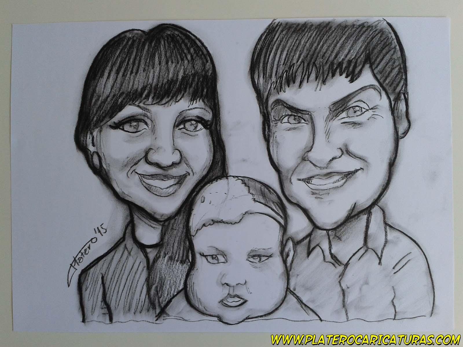 caricaturas_rápidas_a_carboncillo_familia_pareja_con_bebé_platerocaricaturas_jos