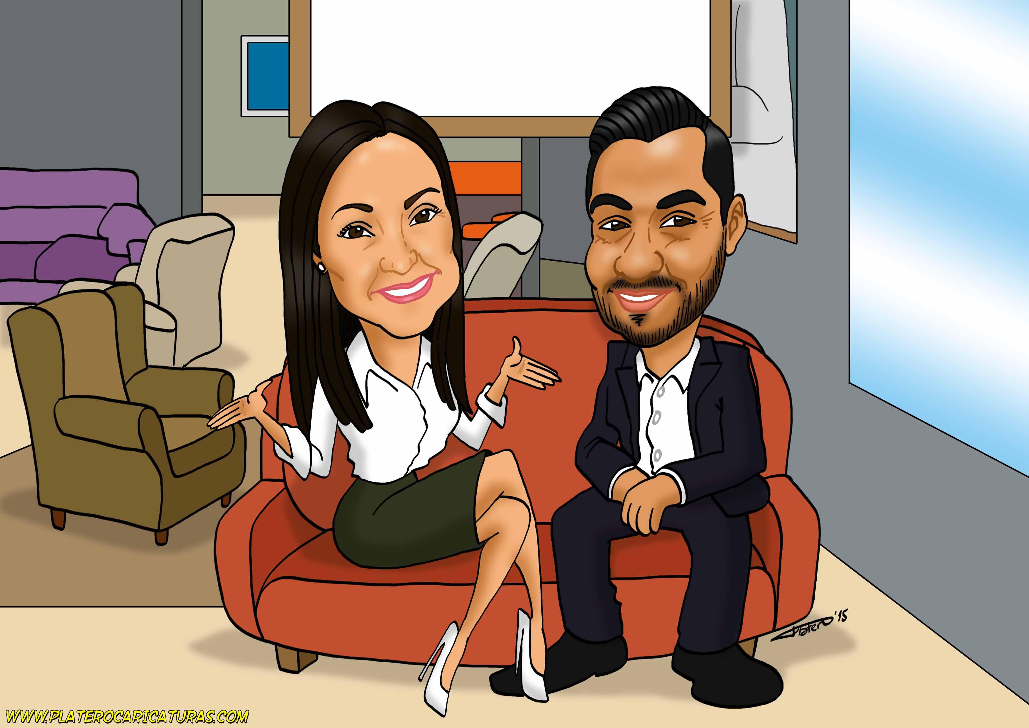 caricaturas_a_color_por_encargo_personalizadas_pareja_en_tienda_de_muebles_platerocaricaturas_elmund