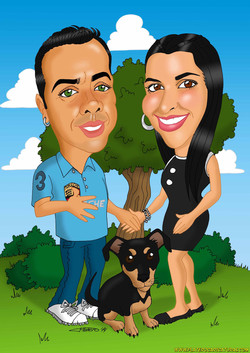 caricaturas a color por encargo personalizadas_invitación boda_pareja novios con