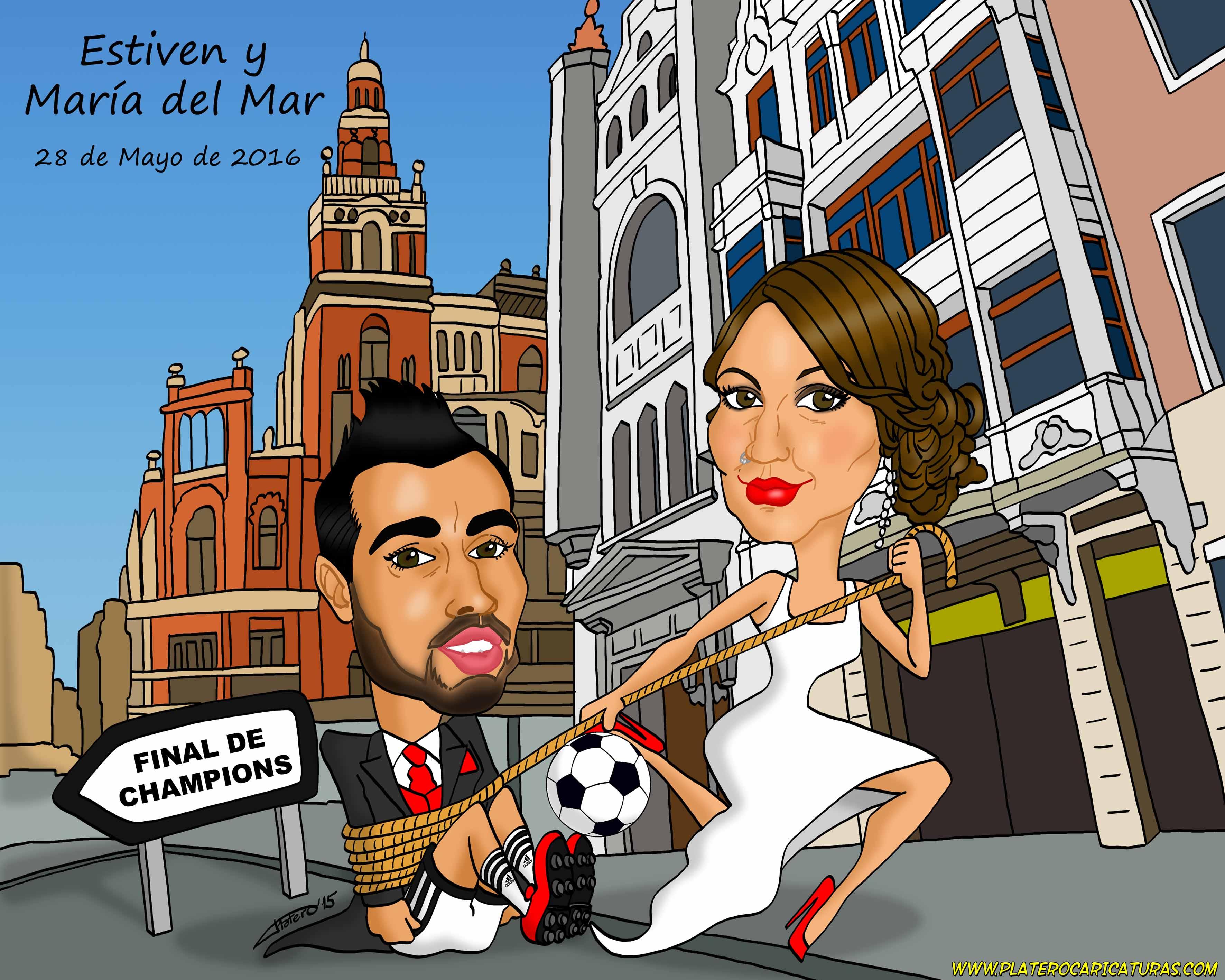 caricaturas_a_color_por_encargo_personalizadas_novios_en_iglesia_platerocaricaturas_josé_luis_plater