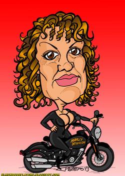 caricaturas a color por encargo_mujer en Harley Davidson_elmundodeplatero_josé l