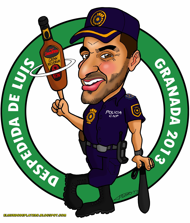 caricaturas a color por encargo personalizadas_policía_elmundodeplatero_josé lui