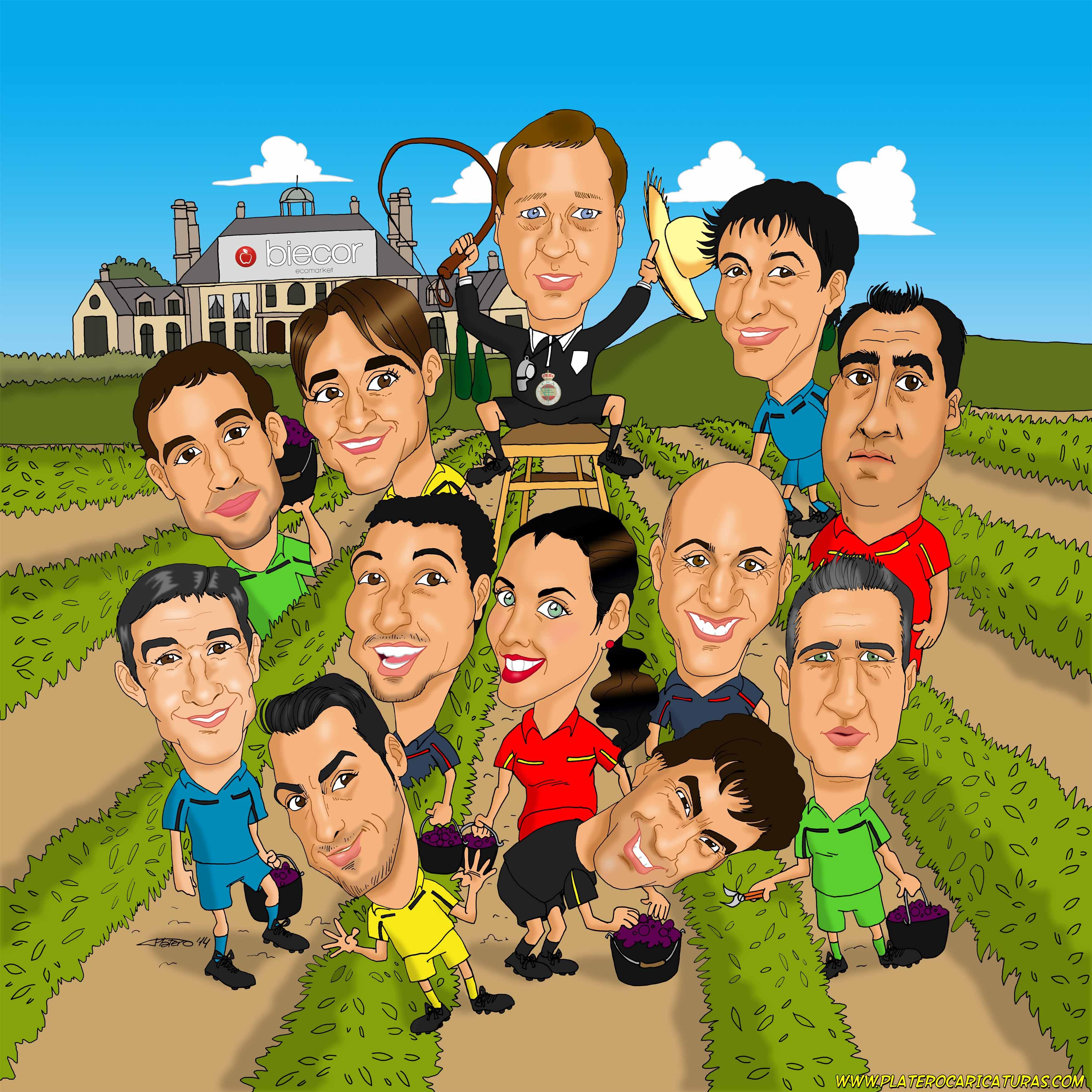 caricaturas_a_color_por_encargo_personalizadas_grupo_de_árbitros_platerocaricatu