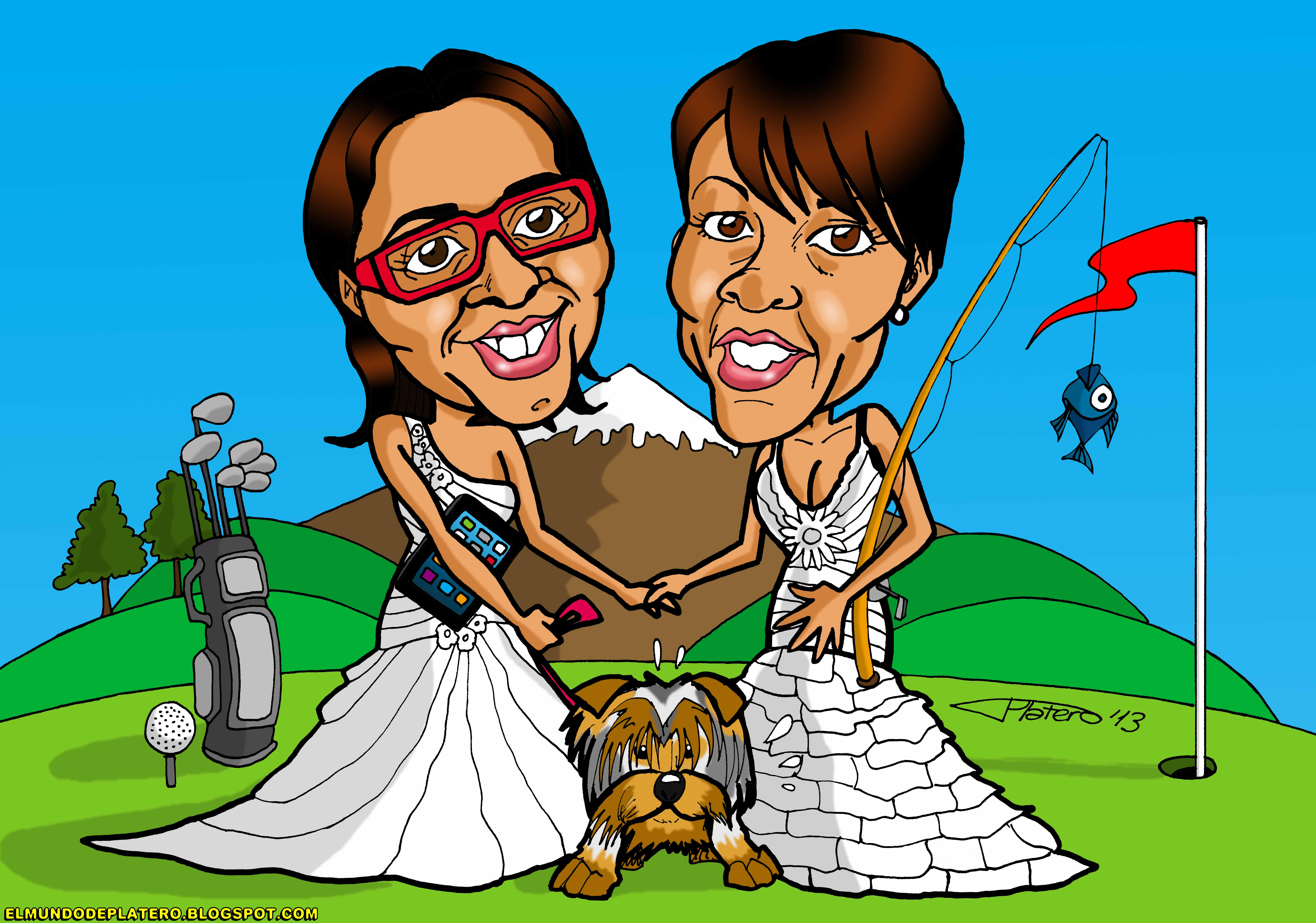 caricaturas a color por encargo personalizadas_novias_invitación boda_elmundodep