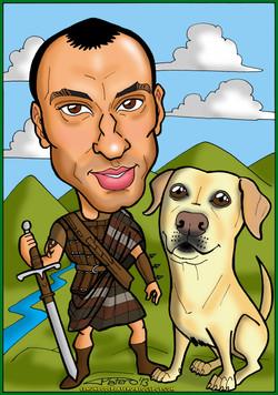 caricatura a color por encargo personalizada_chico Braveheart_elmundodeplatero_j