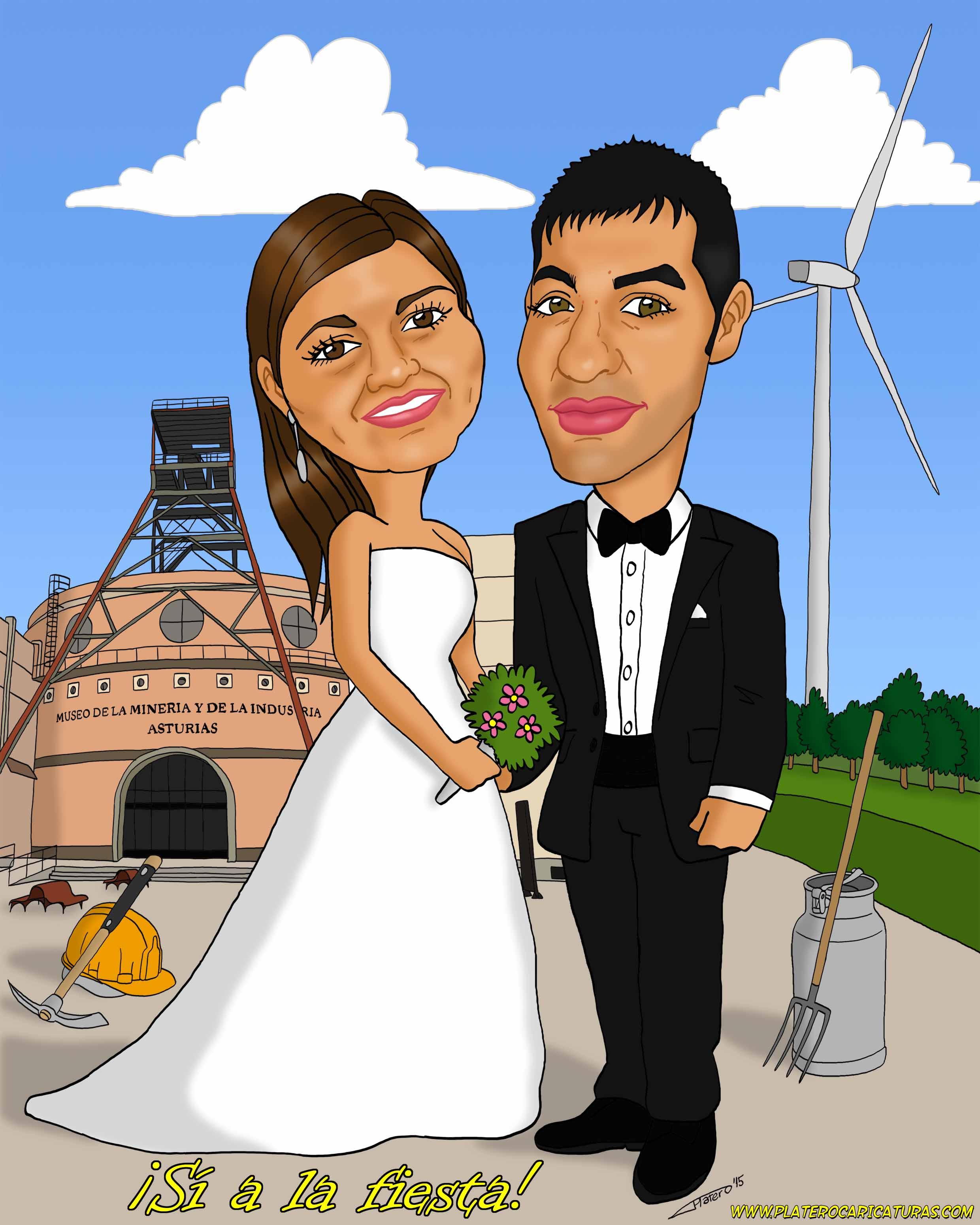 caricaturas_a_color_por_encargo_personalizadas_pareja_boda_Asturias_elmundodepla