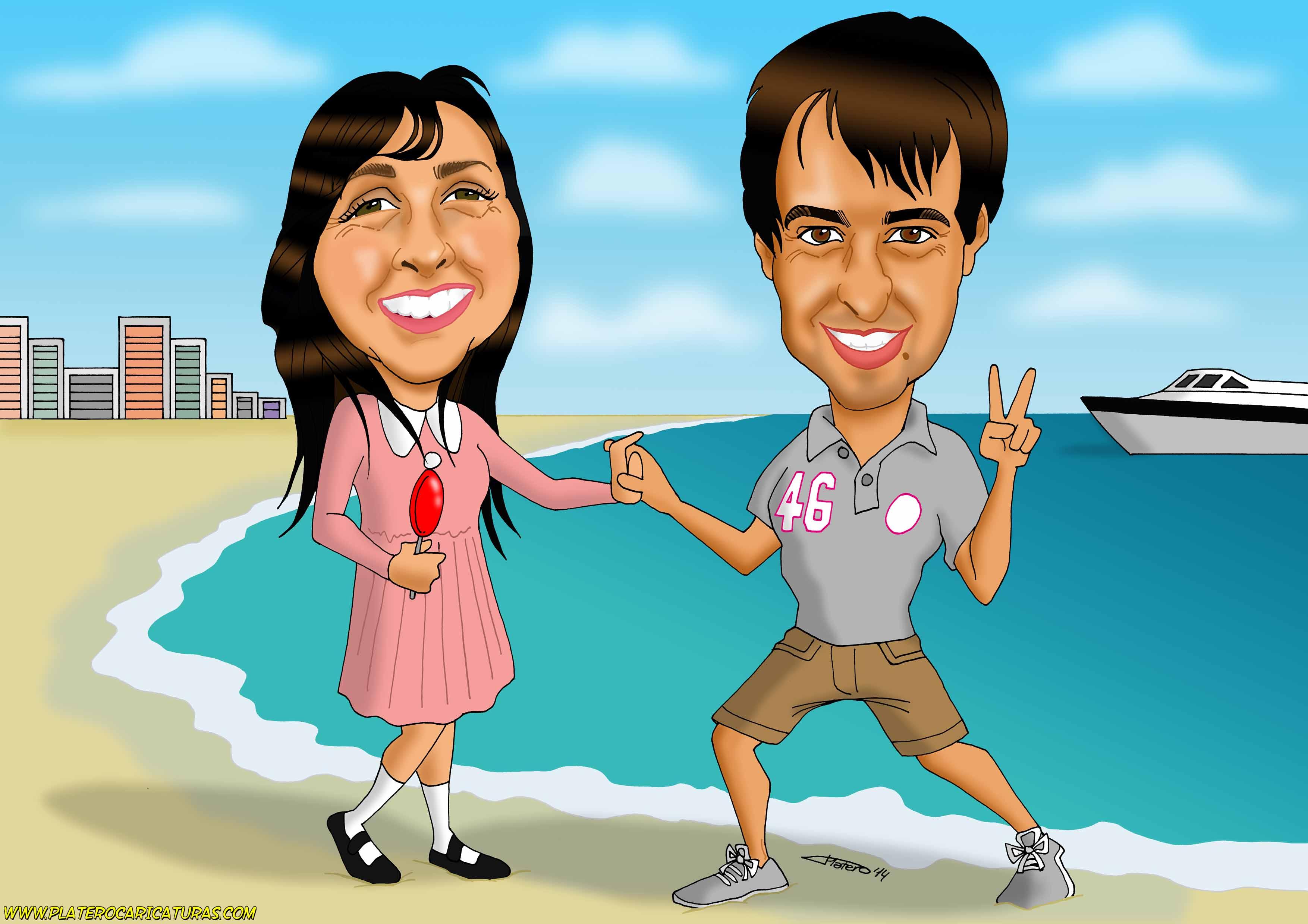 caricaturas a color por encargo personalizadas_pareja en la playa_platerocaricat