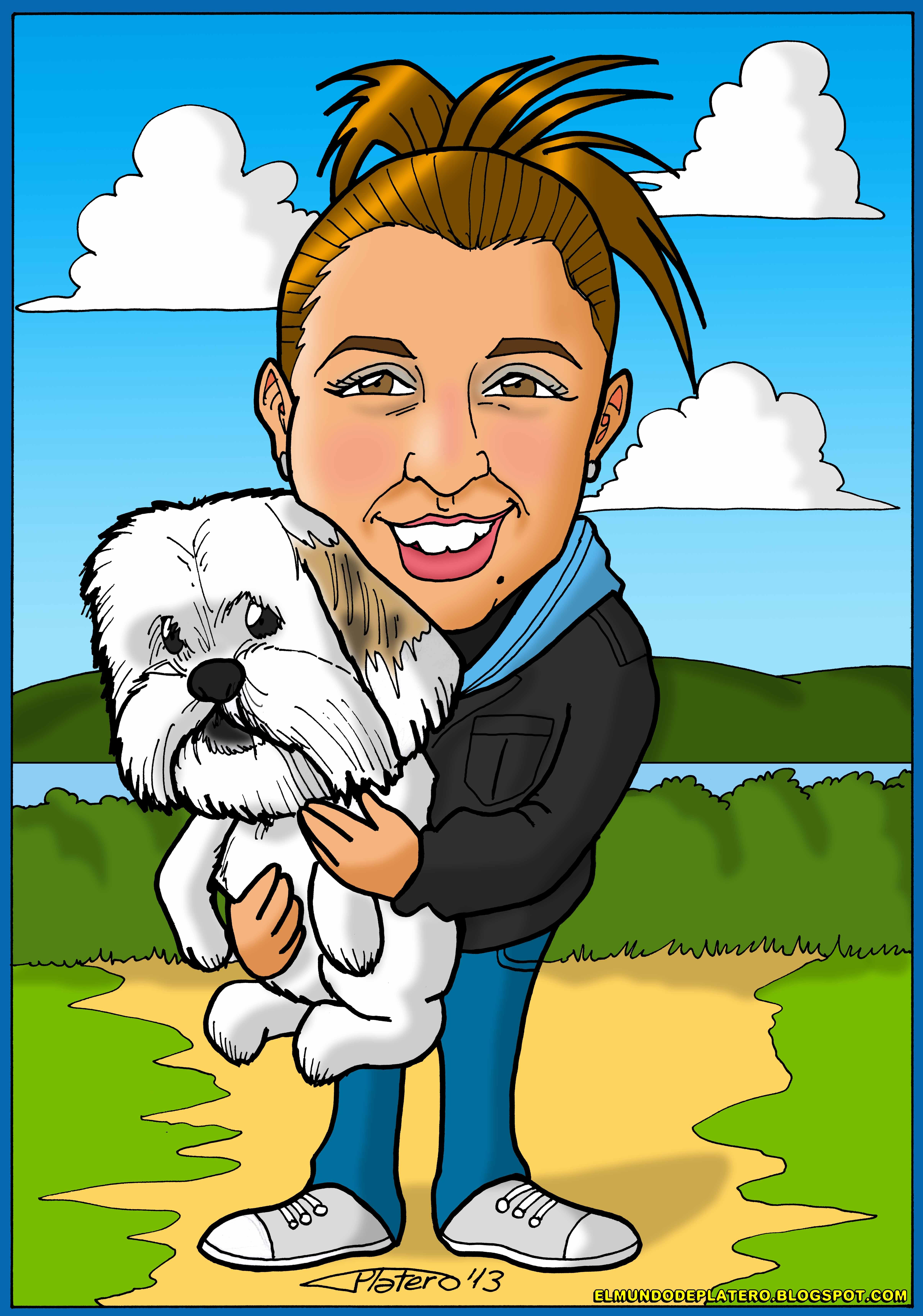 caricaturas a color por encargo personalizadas_chica con perro_elmundodeplatero_