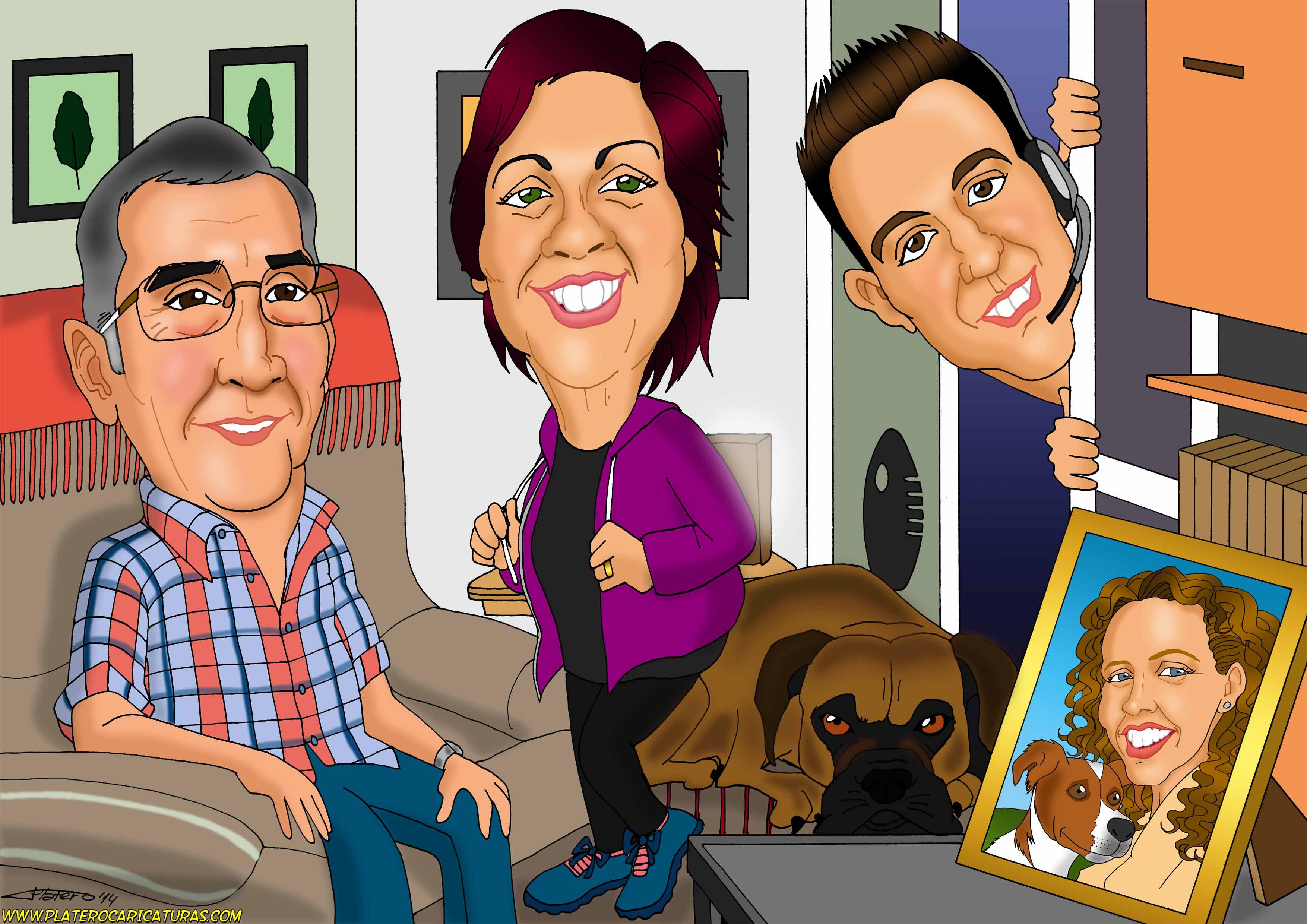 caricaturas a color por encargo personalizadas_regalo original_familia con perro