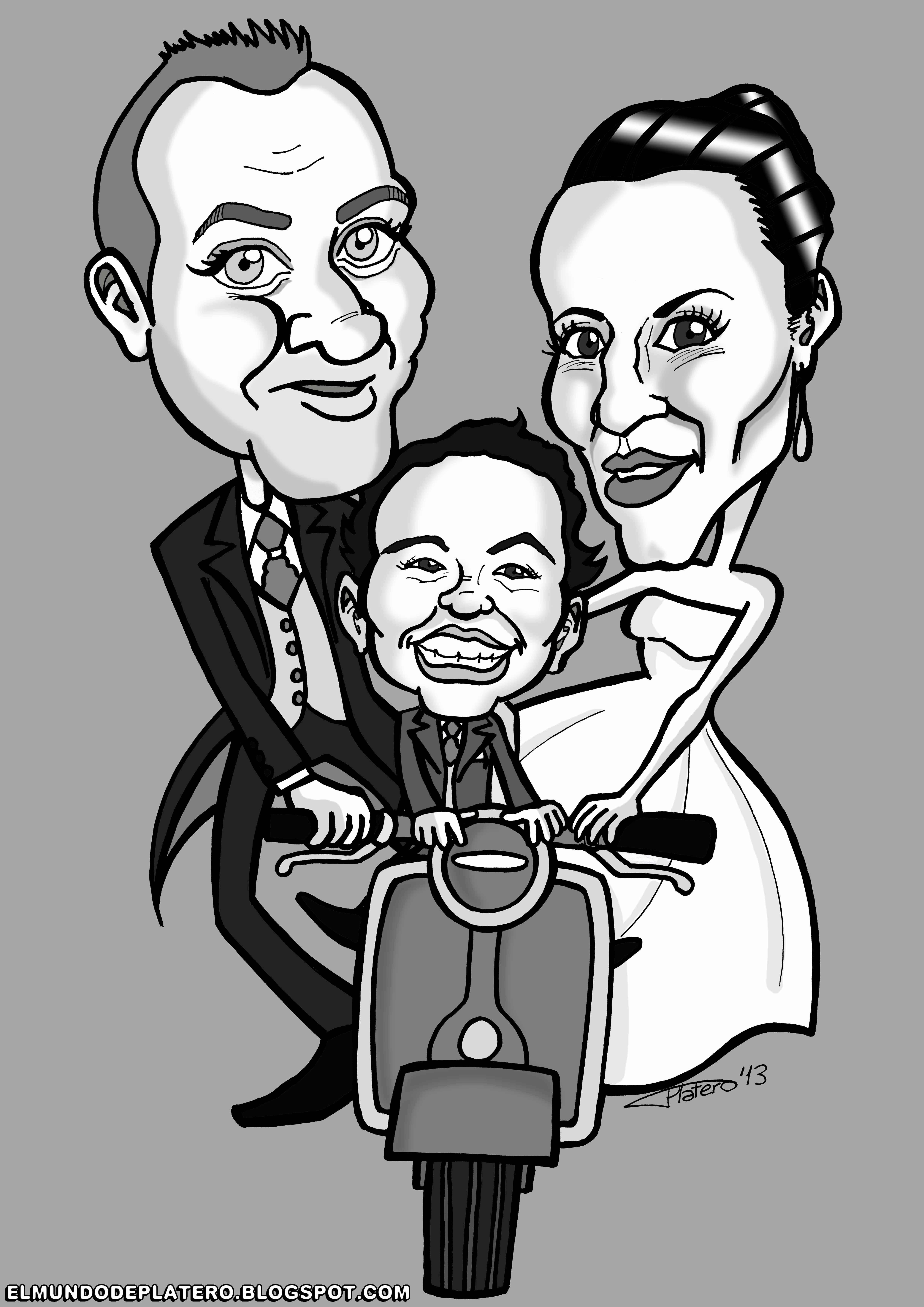 caricaturas blanco y negro por encargo personalizadas_novios_invitación boda_elm
