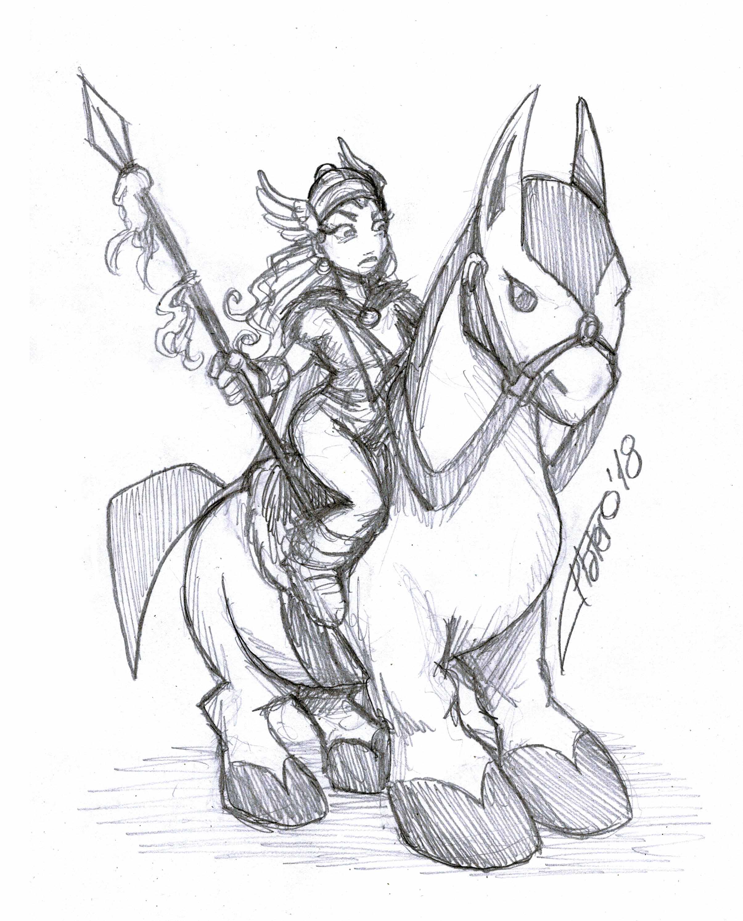 Amazona sobre caballo exótico