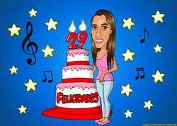 caricaturas_a_color_por_encargo_personalizadas_chica_con_tarta_de_cumpleaños_pla