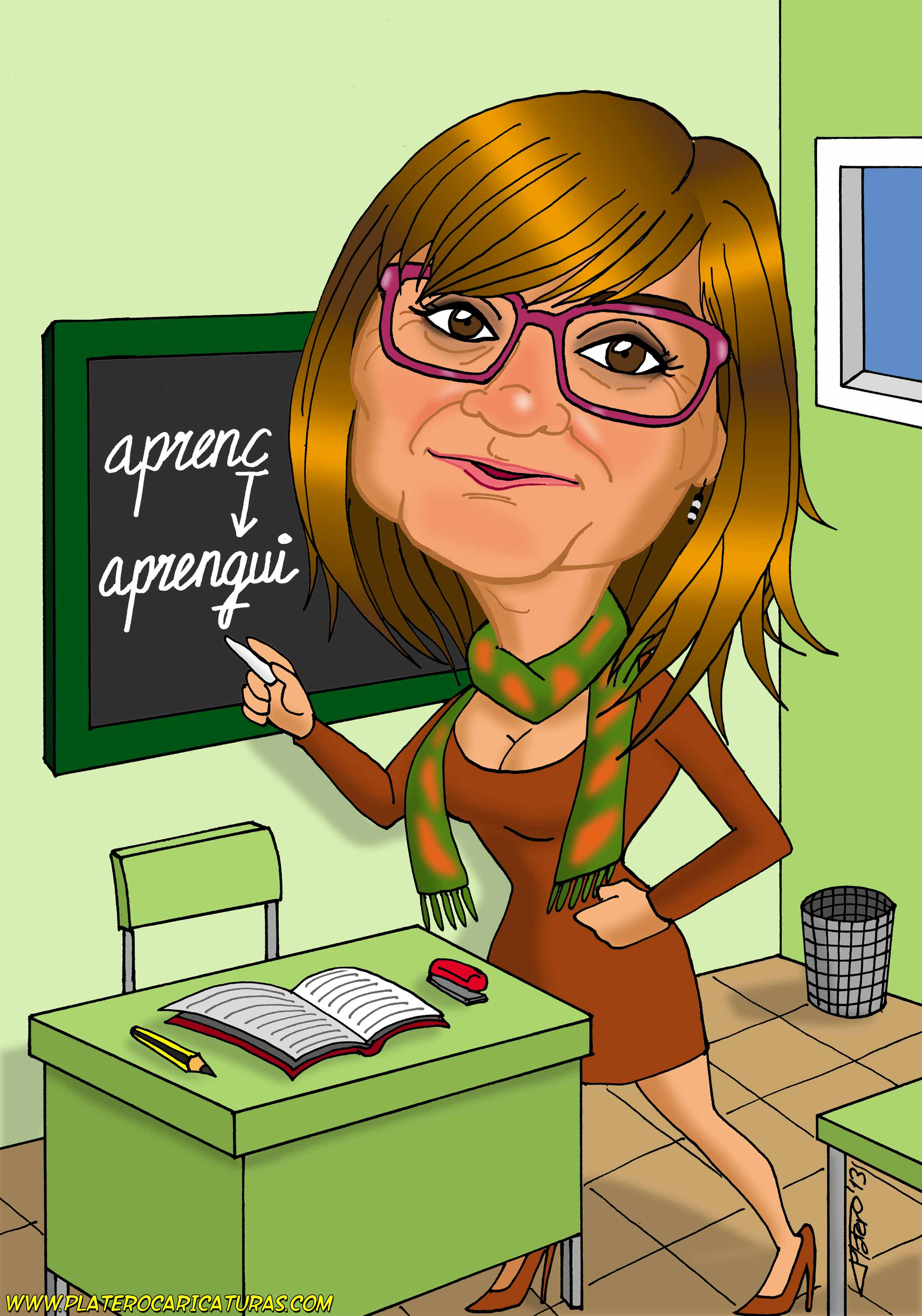 caricaturas a color por encargo personalizadas_profesora_platerocaricaturas_josé