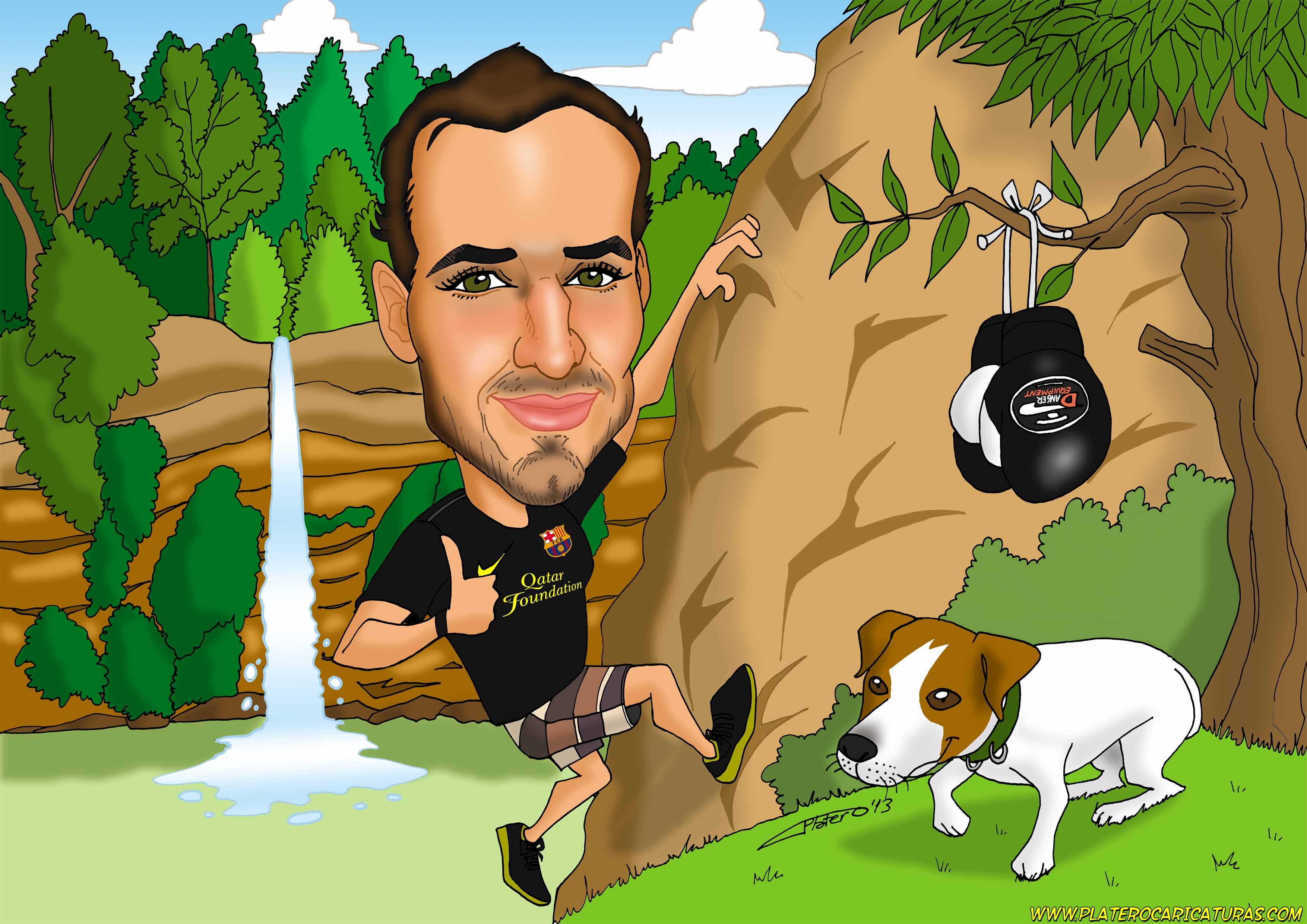 caricaturas a color por encargo personalizadas_escalador_platerocaricaturas_josé