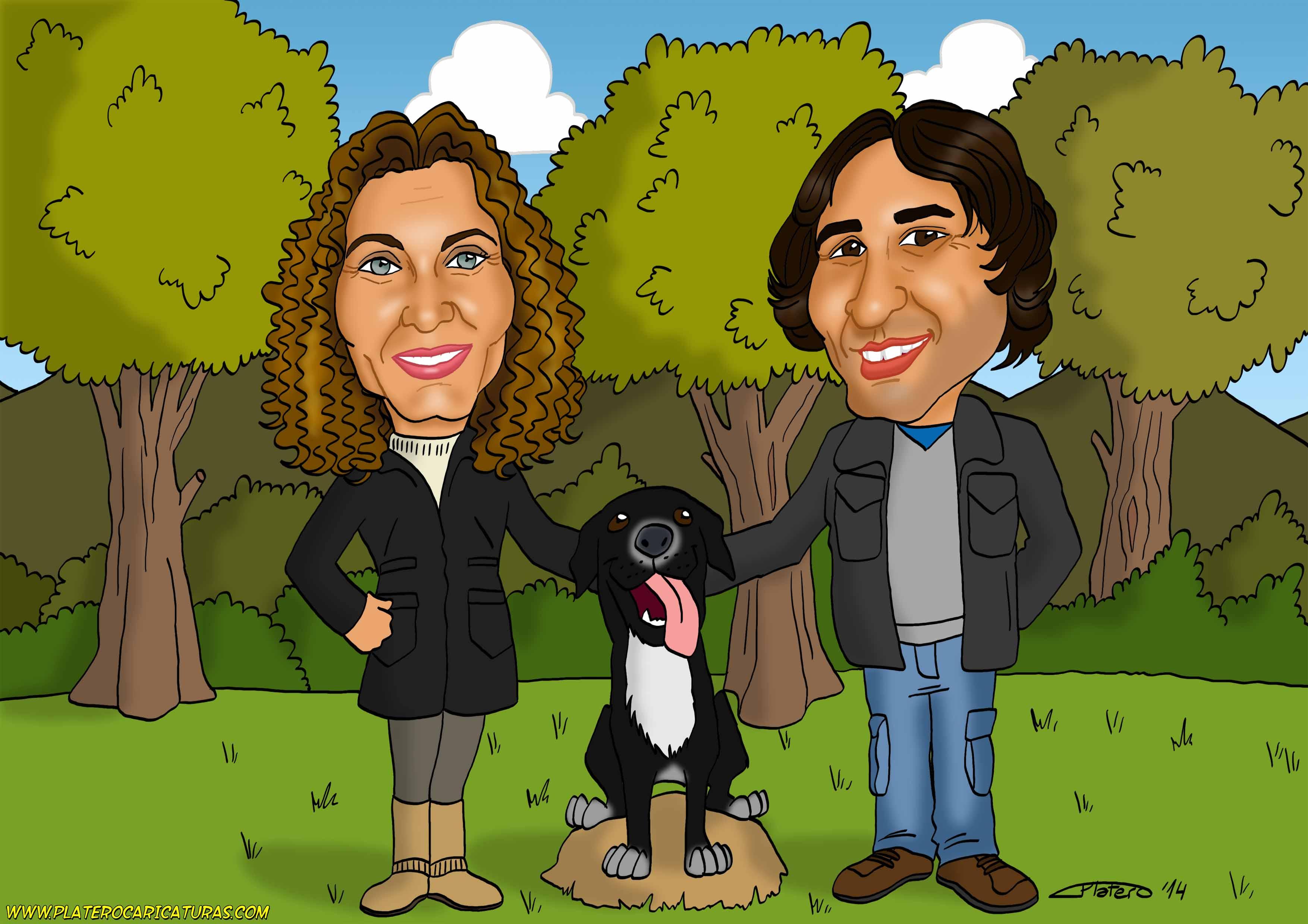 caricatura_a_color_por_encargo_personalizada_pareja_con_perro_elmundodeplatero_j