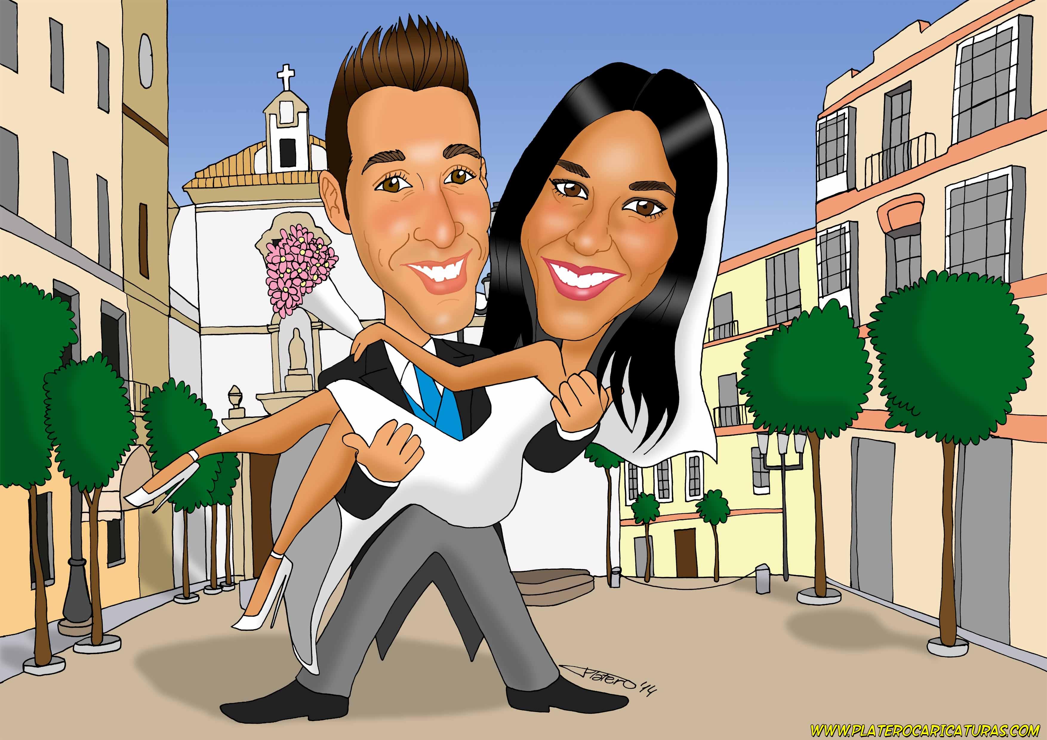 caricaturas_a_color_por_encargo_personalizadas_novios_boda_platerocaricaturas_el