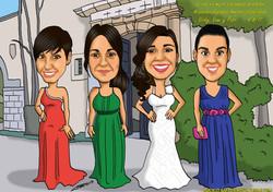 caricaturas_boda_amigas_damas de honor_platerocaricaturas