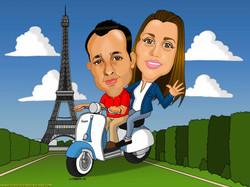 caricaturas a color por encargo personalizadas_novios en París_platerocaricatura