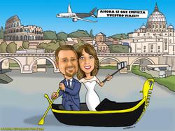 novios en gondola_bodas_boda_caricatura_caricaturas_platerocaricaturas