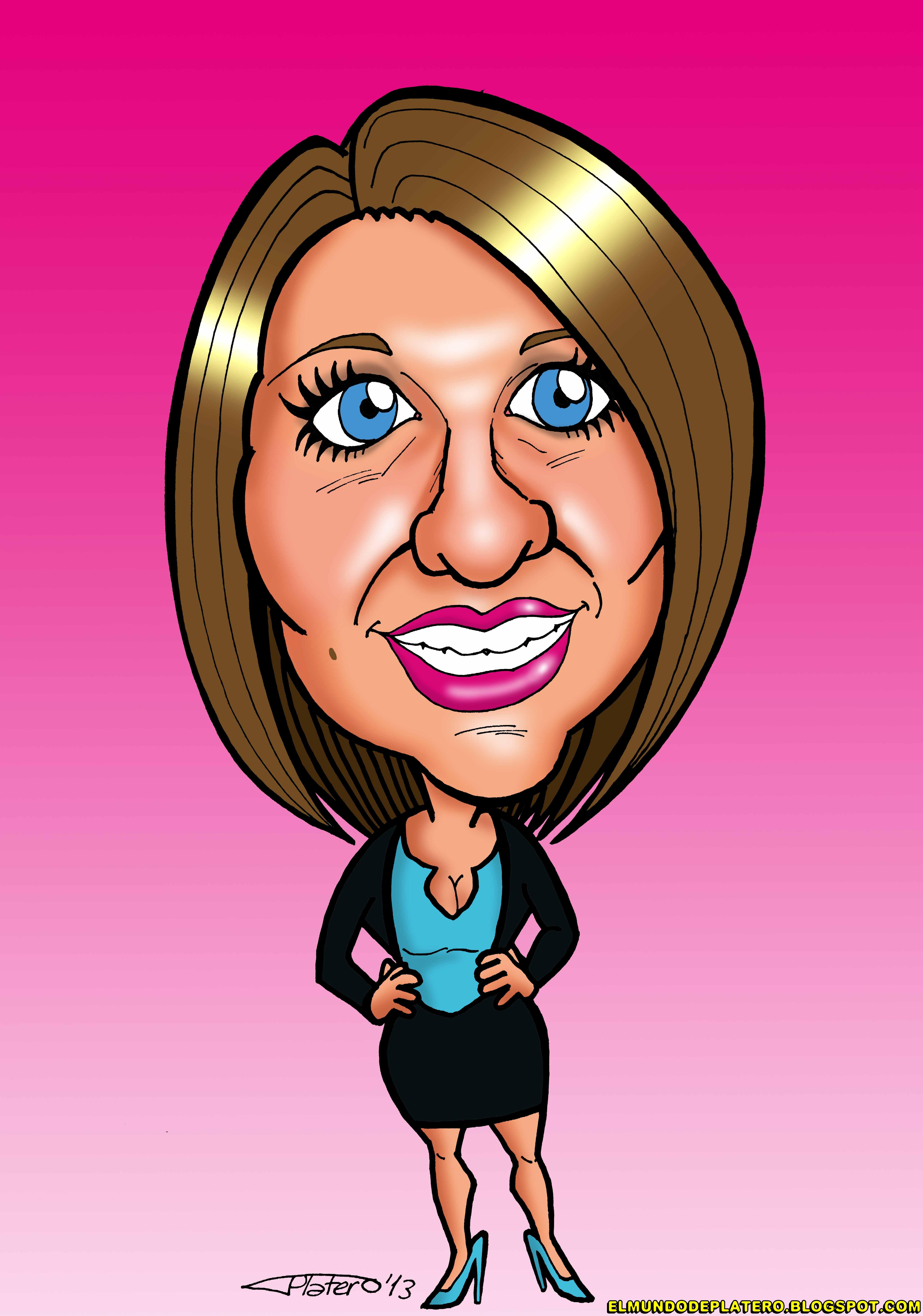 caricatura a color por encargo personalizada_chica_elmundodeplatero_josé luis pl