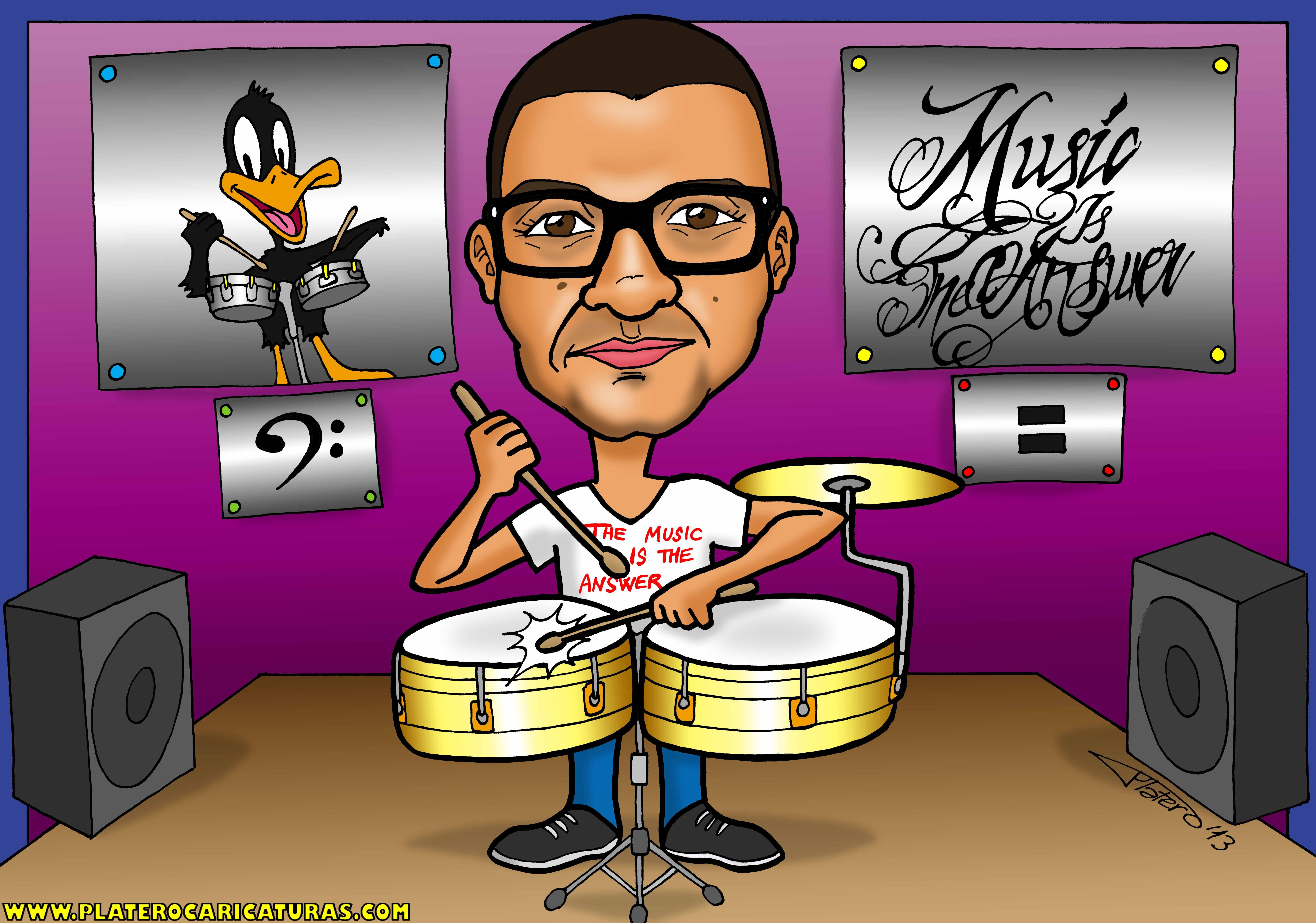 caricaturas a color por encargo personalizadas_chico con timbal_platerocaricatur
