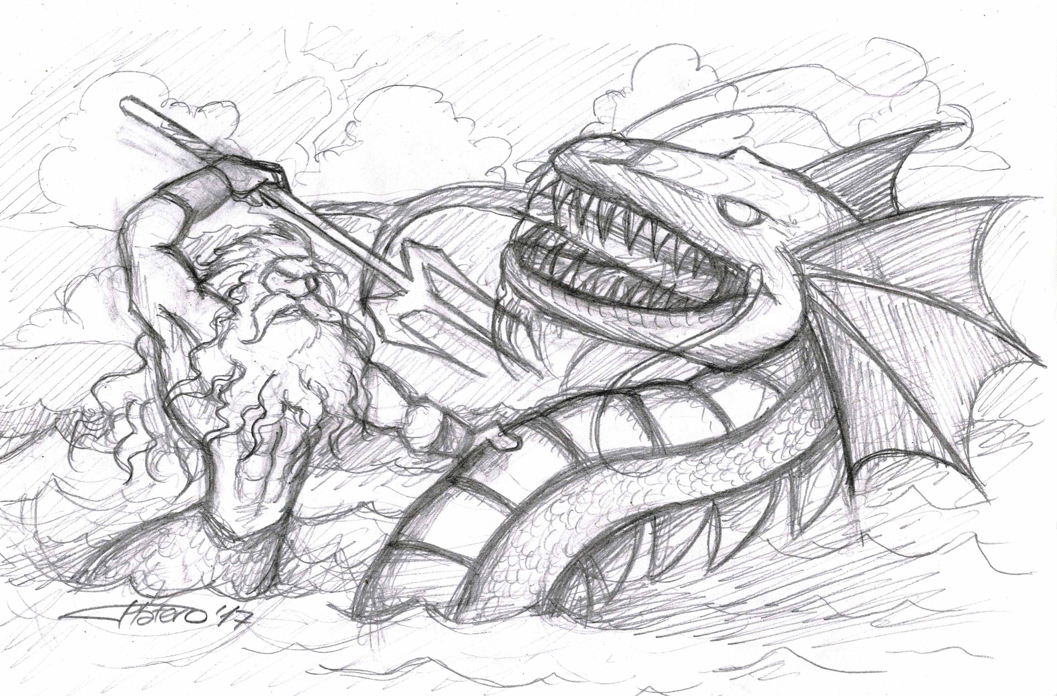 Poseidón contra serpiente marina